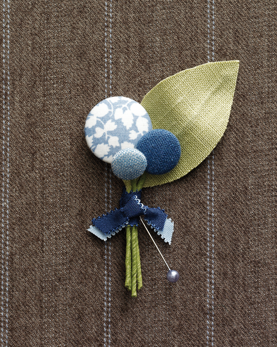 Covered-Button Boutonniere