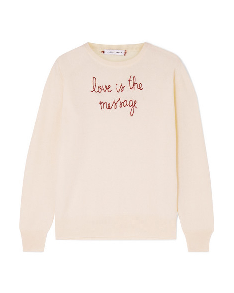 """""""Love Is the Message"""" Embroidered Cashmere Sweater"""