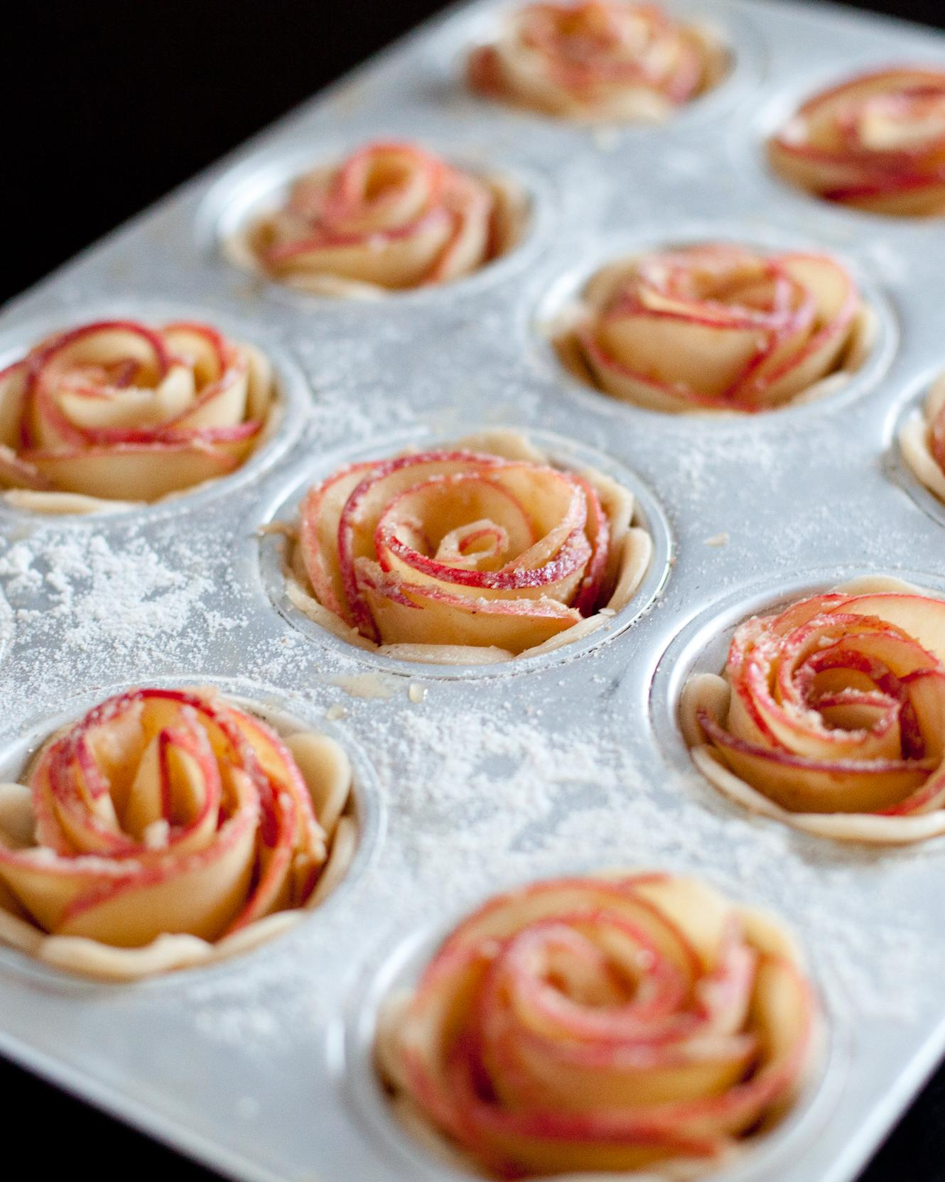Transfer rolled apples to mini pie shells