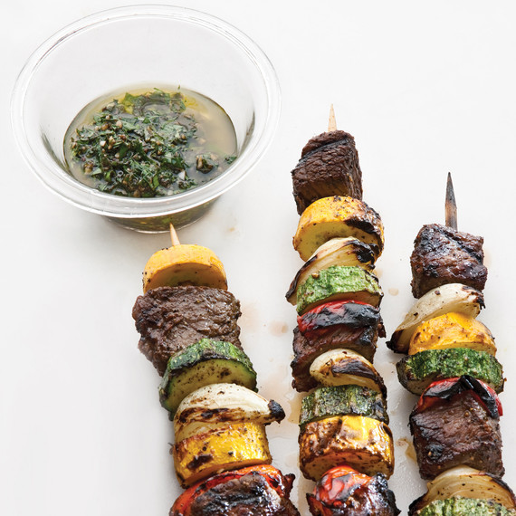 Sirloin and Summer-Vegetable Kebabs