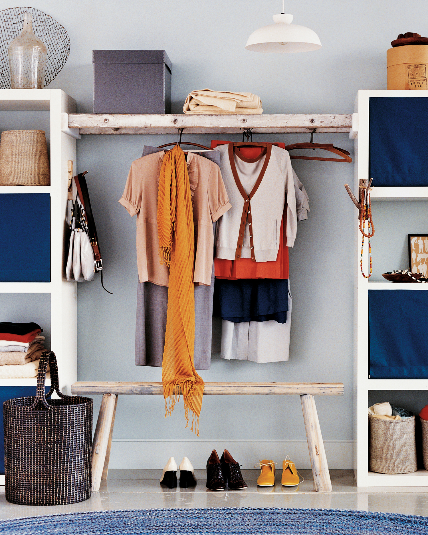 walk-by closet made from reclaimed wood