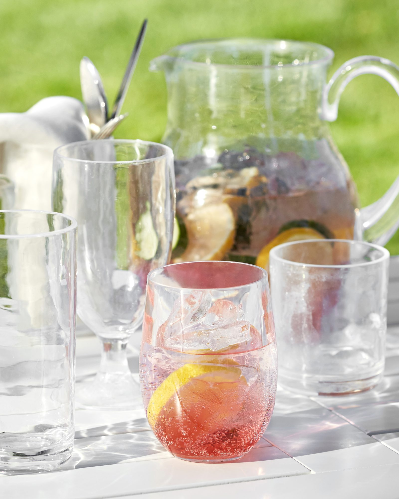 Outdoor glassware and pitcher