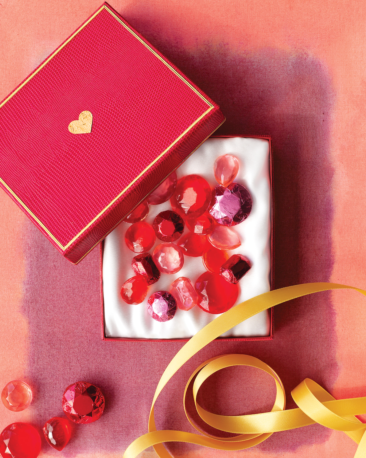 For your dazzling dears, stock a jewelry box full of edible gemstones in luminous pinks, reds, and corals that are a thrill to behold—and to eat.