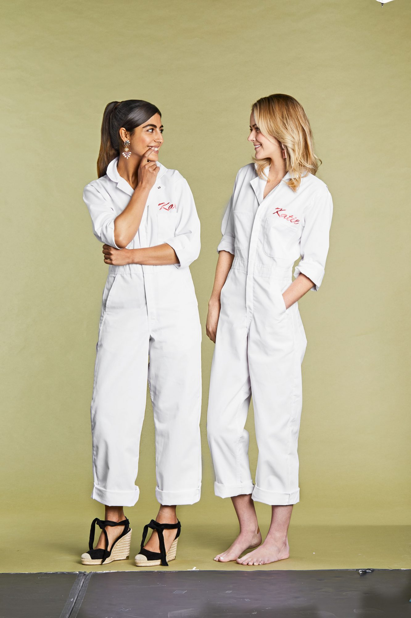 Make your crew stand out with '80s-inspired ensembles. Retro coveralls are easily customizable—just embroider your names on them.