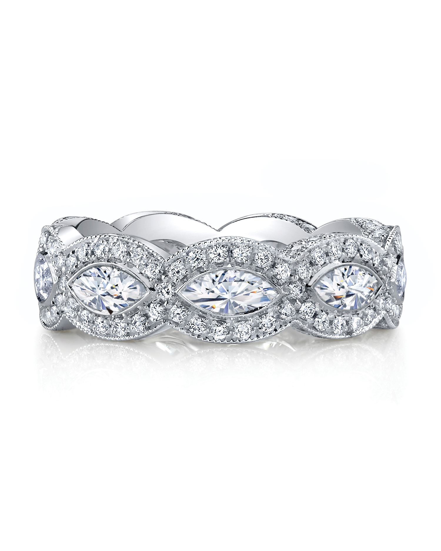 It is a graphic of 42 Unique Diamond Eternity Bands Martha Stewart