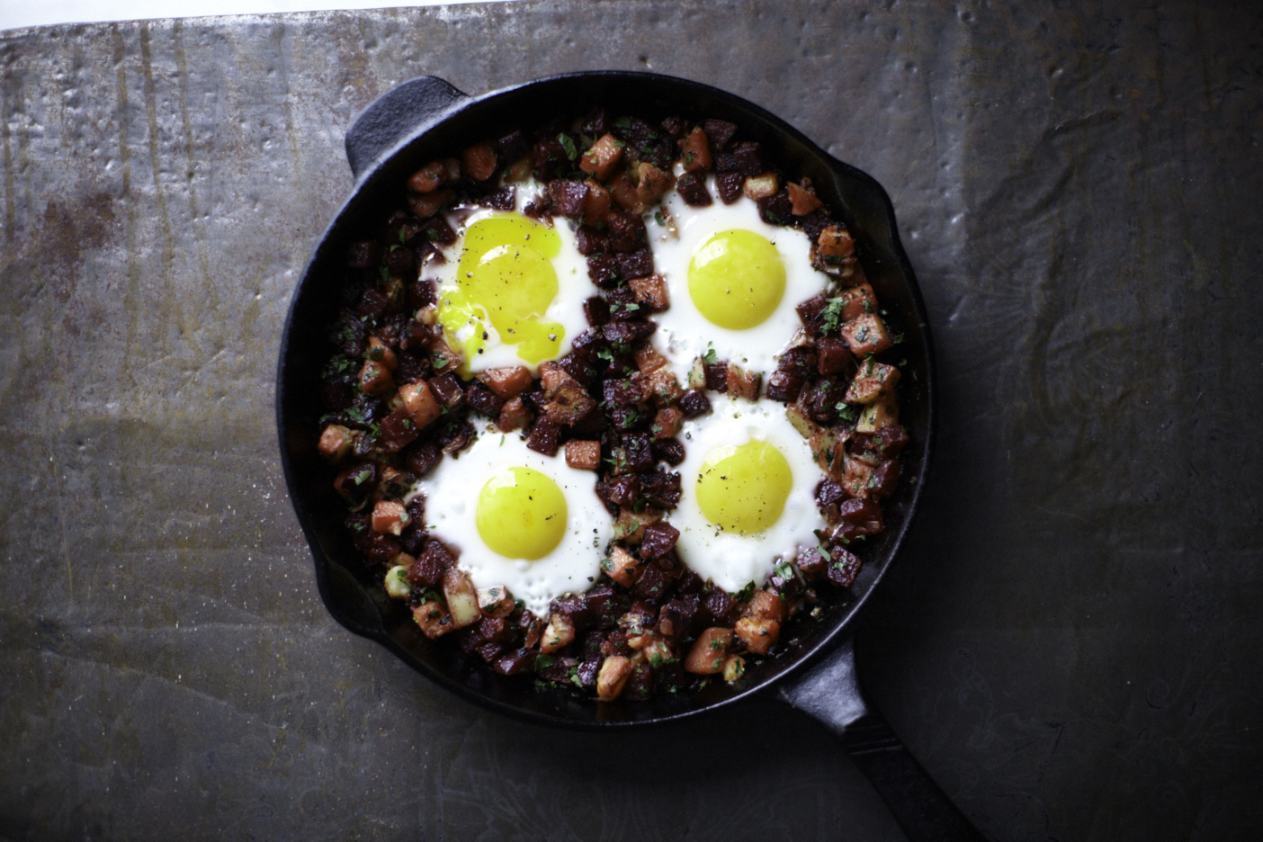Beet Hash with Eggs