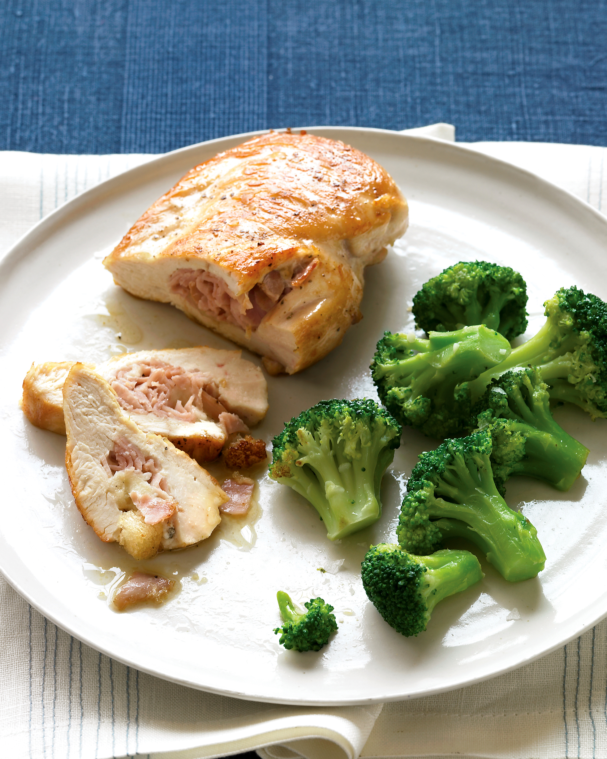 Ham-and-Sage-Stuffed Chicken with Broccoli