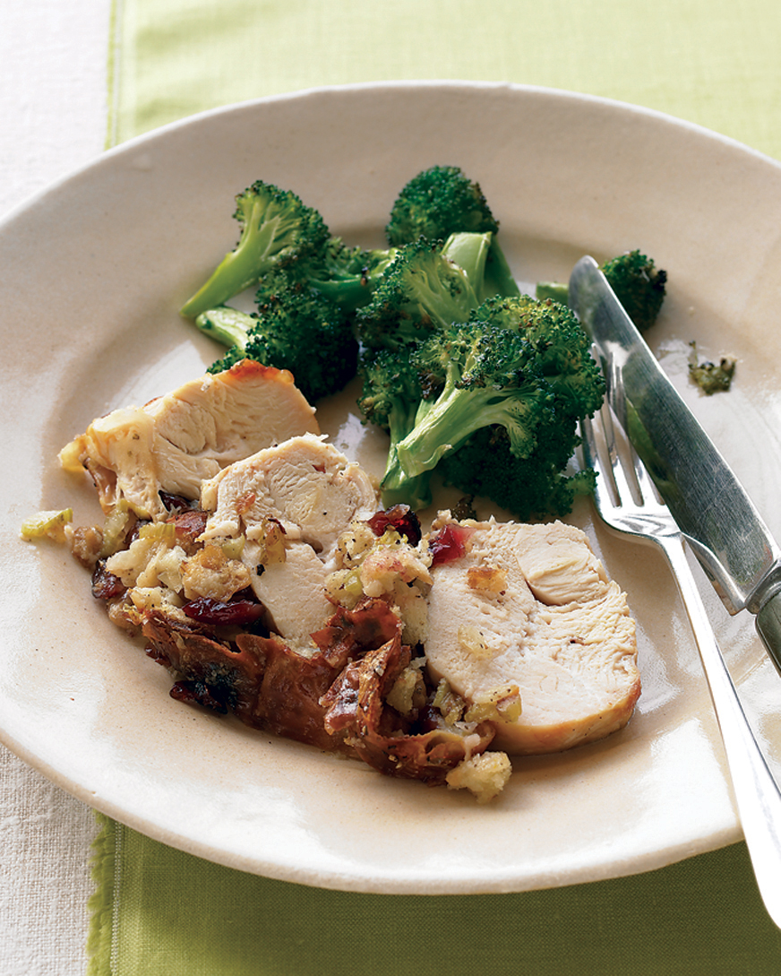 Stuffed Chicken Breast and Roasted Broccoli