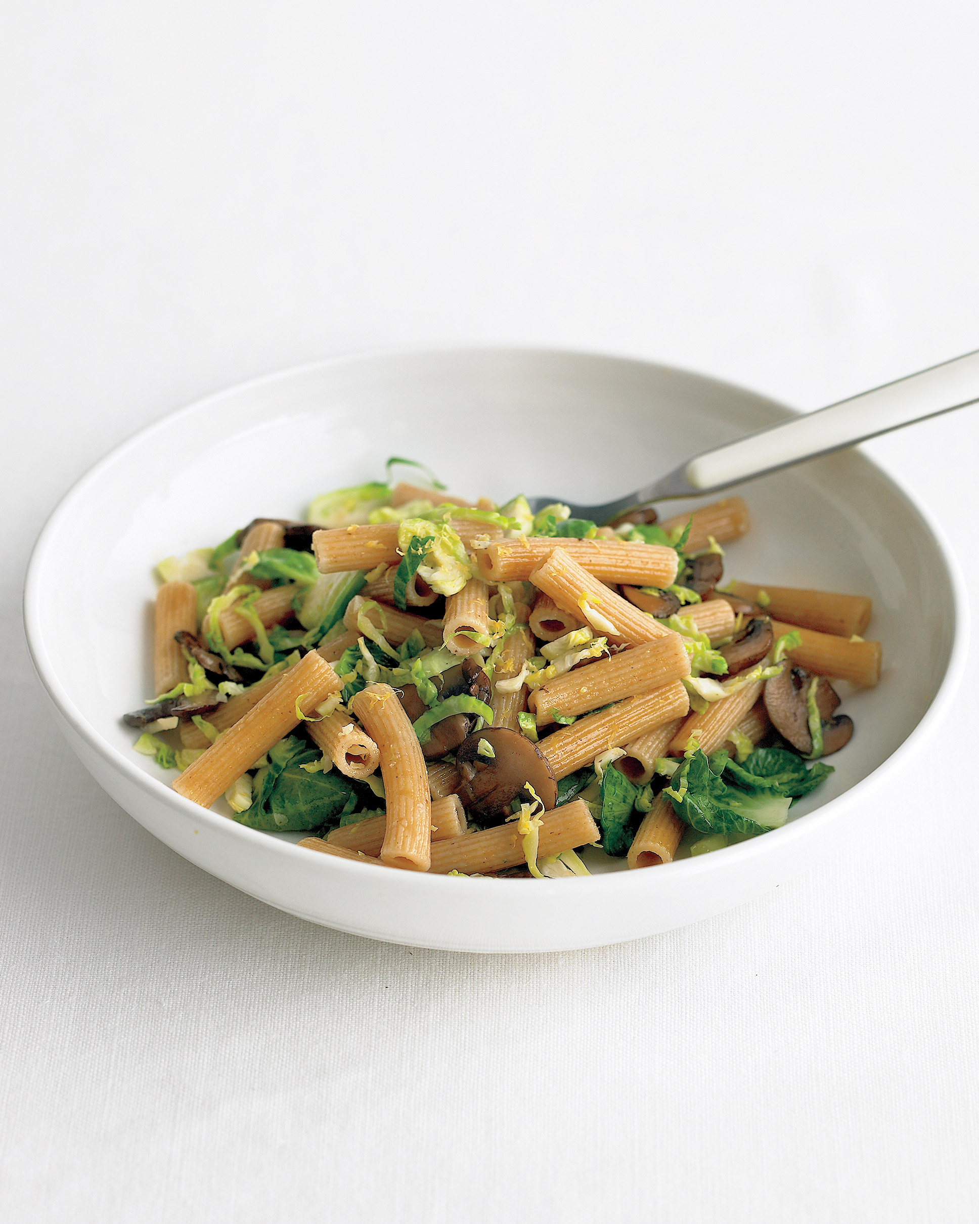 Whole-Wheat Pasta with Brussels Sprouts and Mushrooms