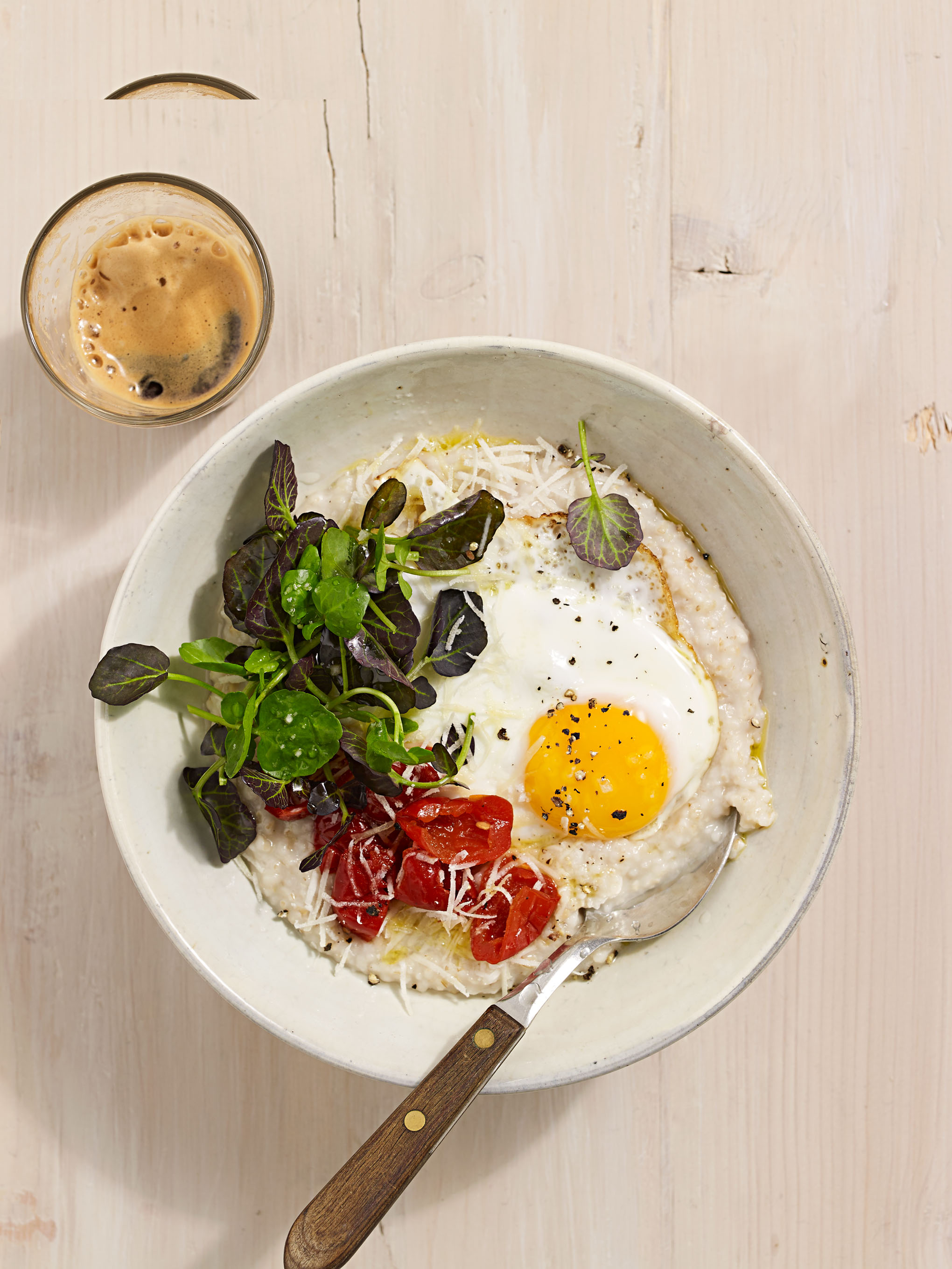 creamy parmesan oats with watercress