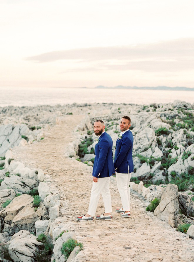Coordinating outfits aren't expected, but these grooms definitely pulled them off.