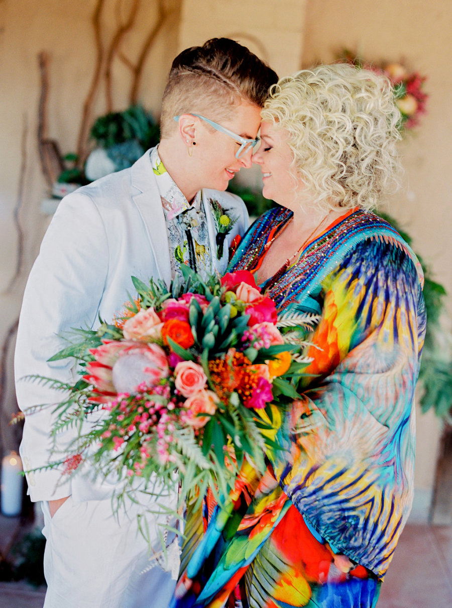 These brides chose to wear colorful clothes on their big day, an outward representation of their internal cheer.