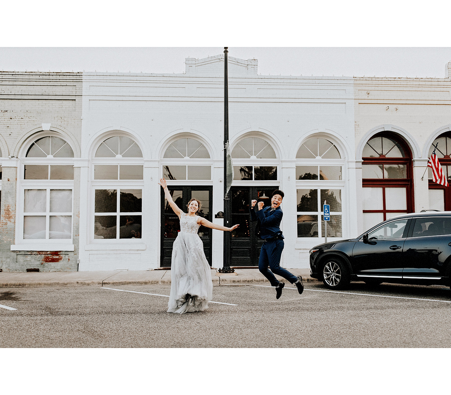 This couple couldn't contain their enthusiasm about tying the knot.