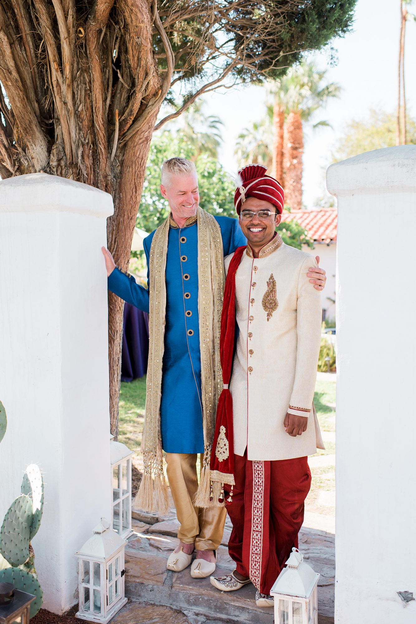 We love how the groom on the left is looking at his new husband in this image.