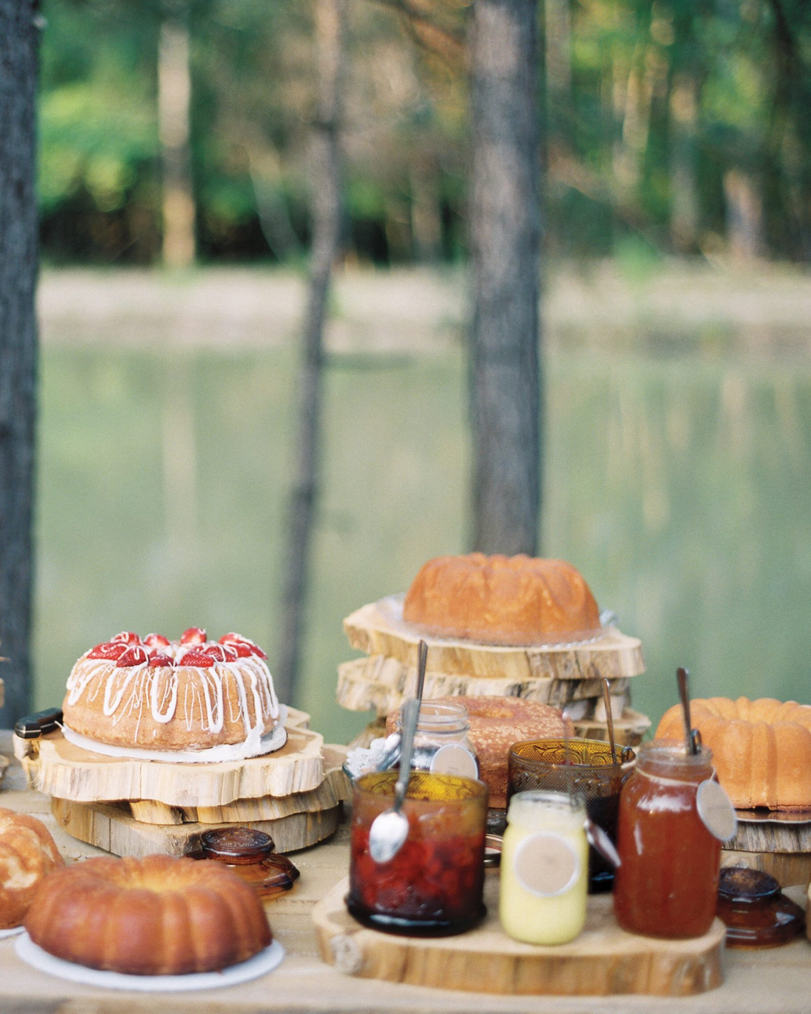"""The bride's relatives and friends teamed up to bake a spread of pies and pound cakes. """"It felt so Southern to have the ladies who played an important role in my life contribute in such a special way,"""" says Saron."""
