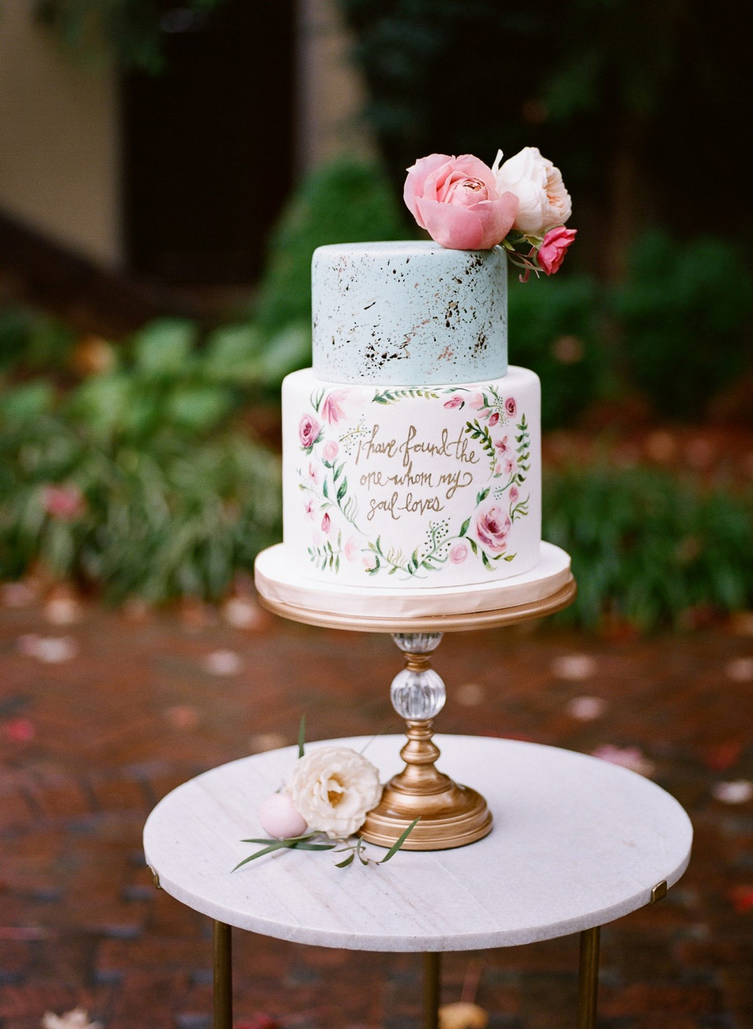 Small Wedding Cake with Quote