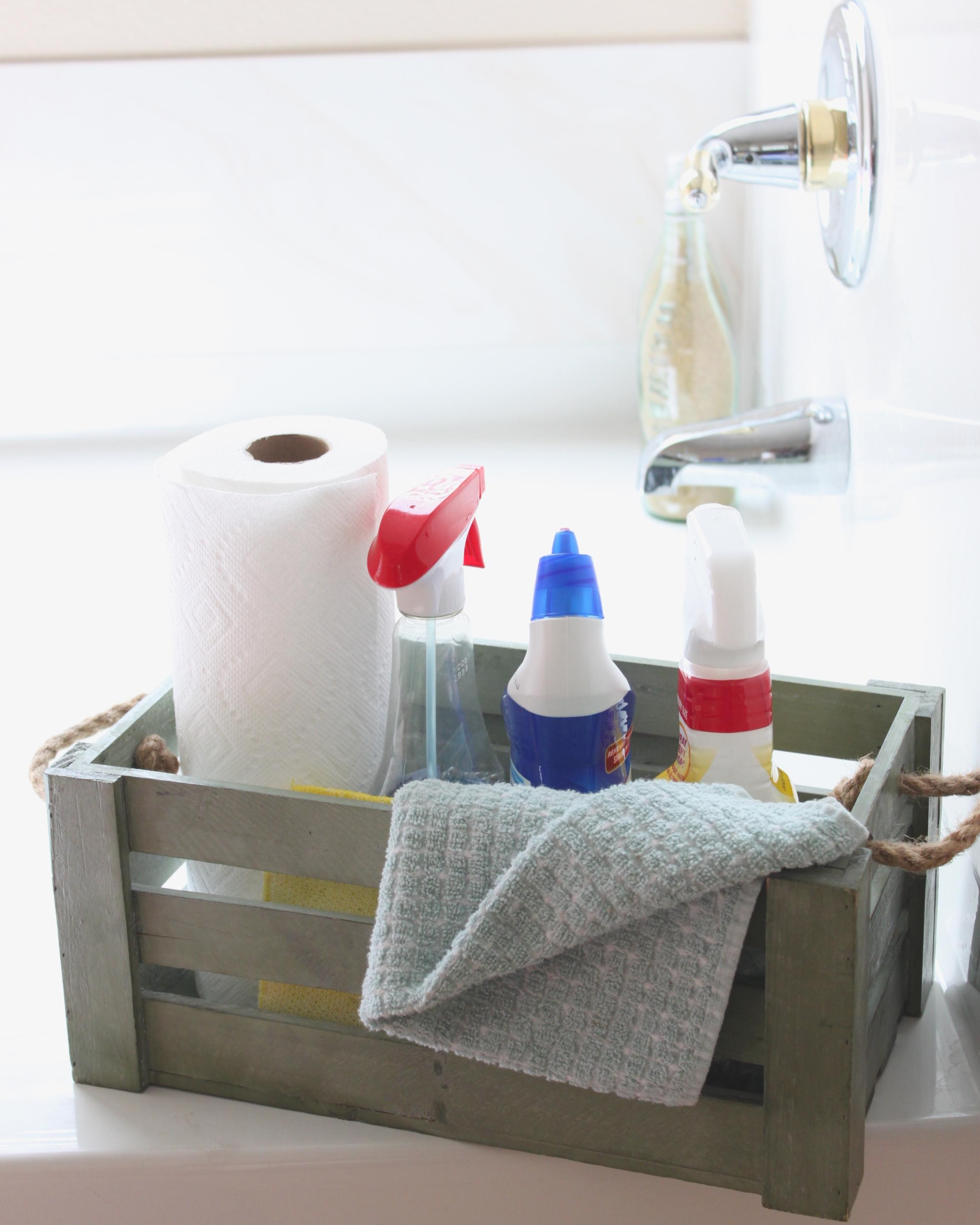 Individual bathroom cleaning supplies
