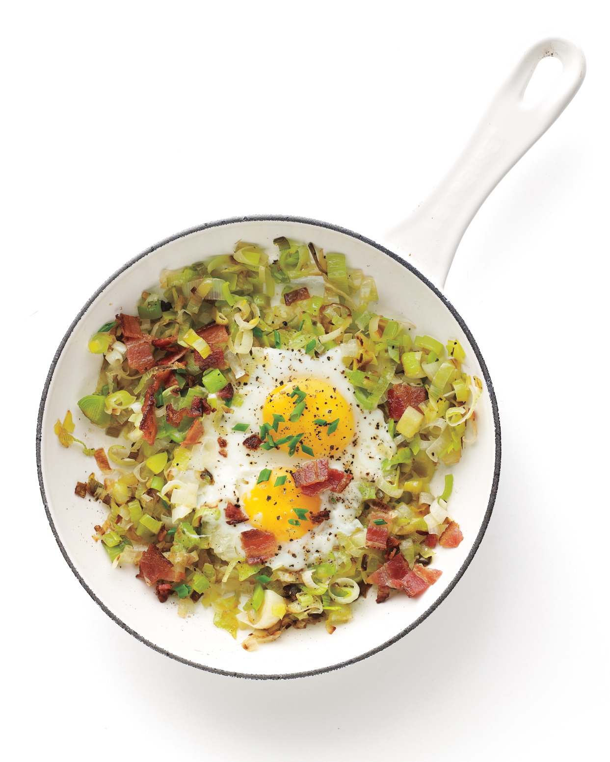 The Fastest: Bacon and Eggs with Savory Sauteed Leeks