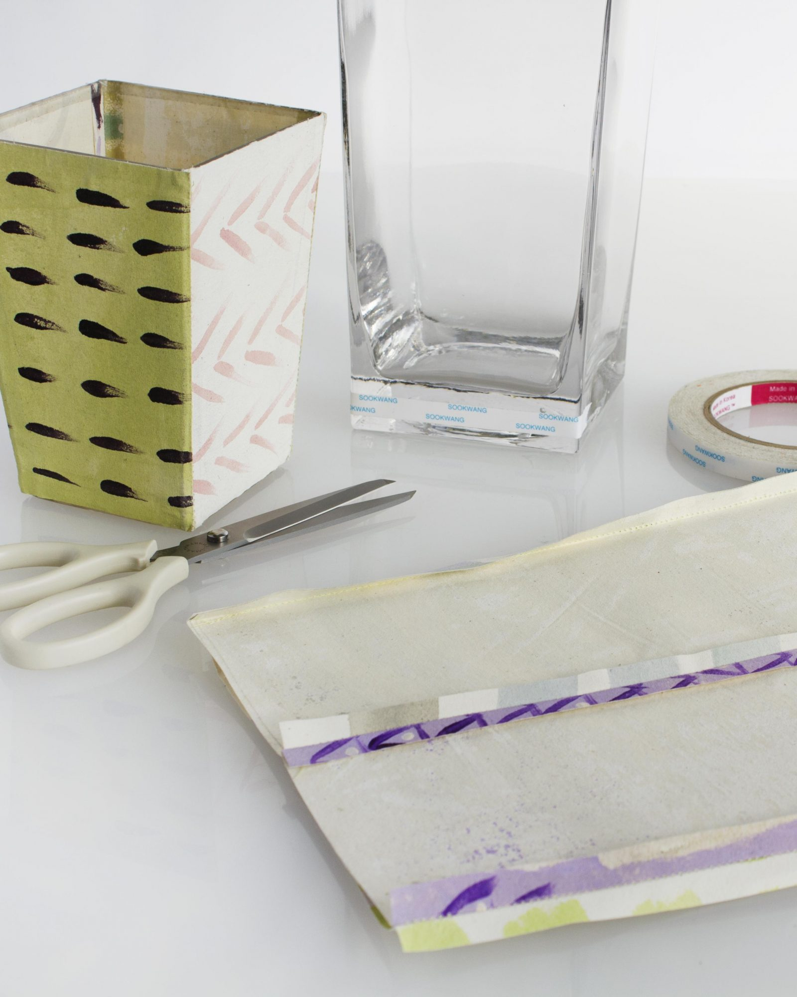 Sew and Attach Fabric to Vase