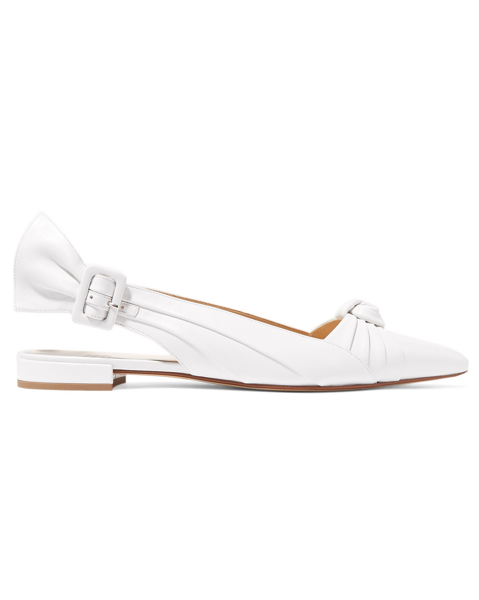 outdoor wedding shoes white knotted leather sling-back flats