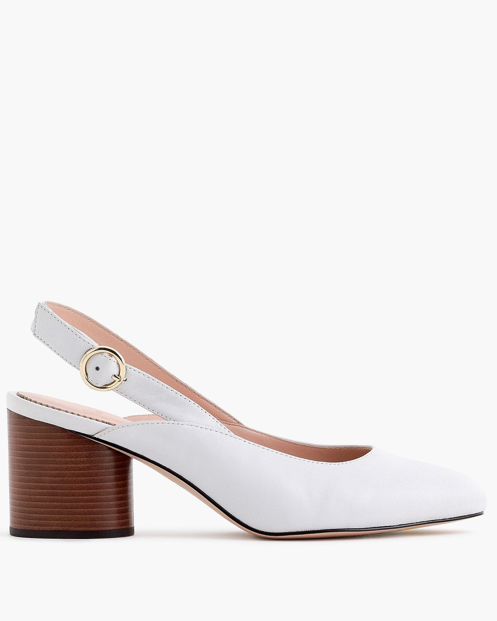 outdoor wedding shoes white leather sling-back pumps