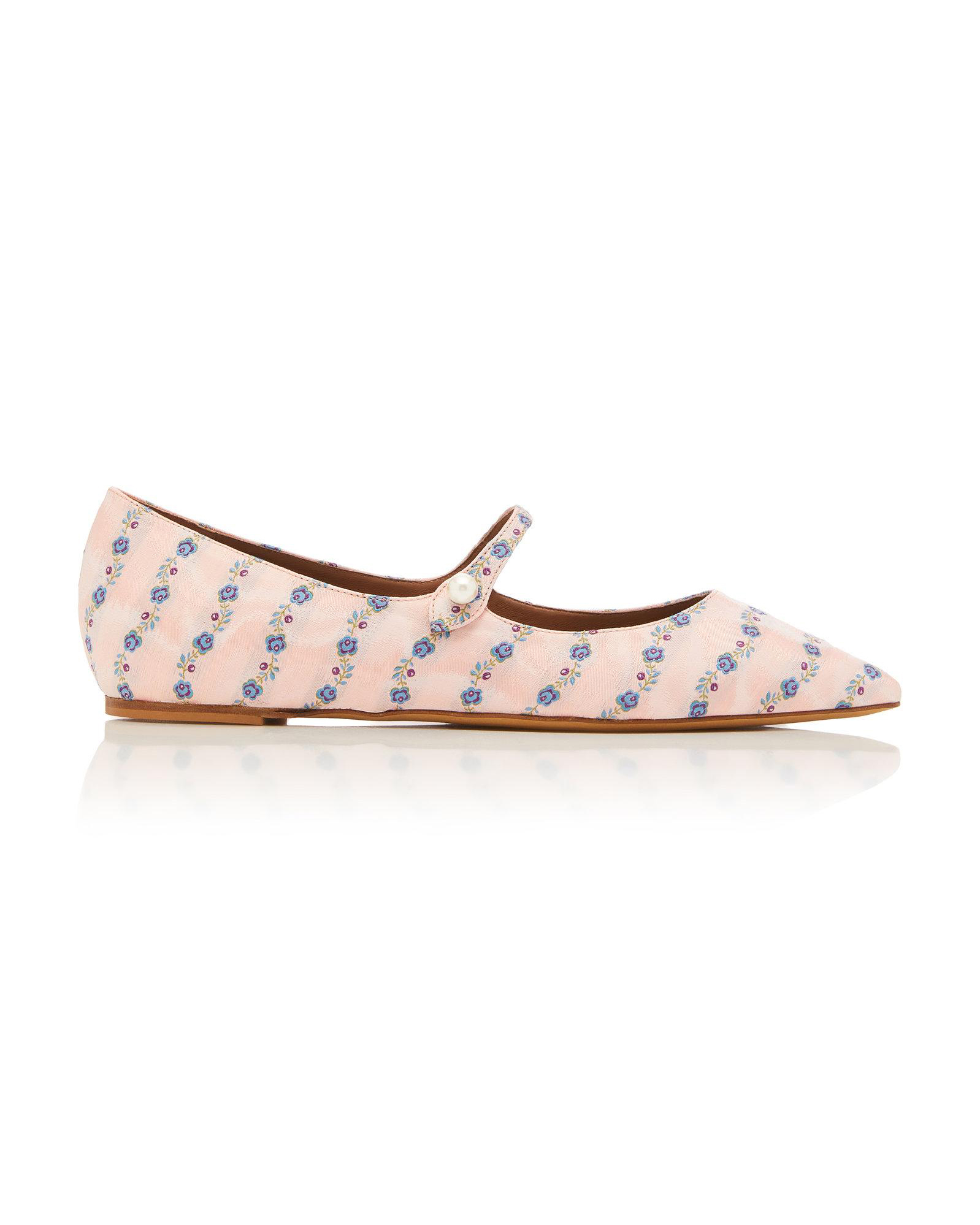 outdoor wedding shoes floral-patterned pointed toe flats
