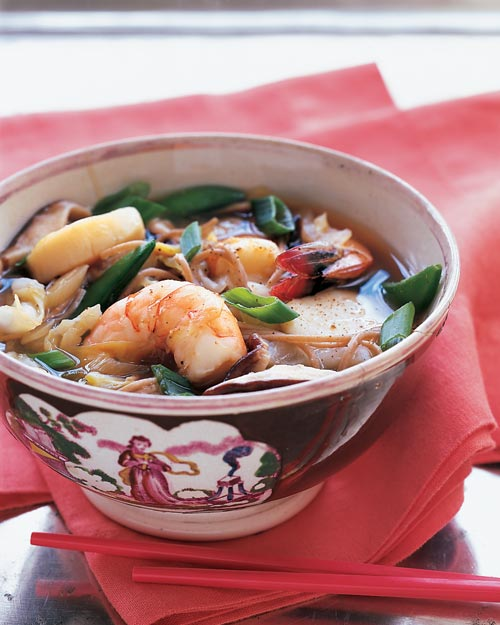 Asian Broth with Shrimp, Scallops, and Noodles