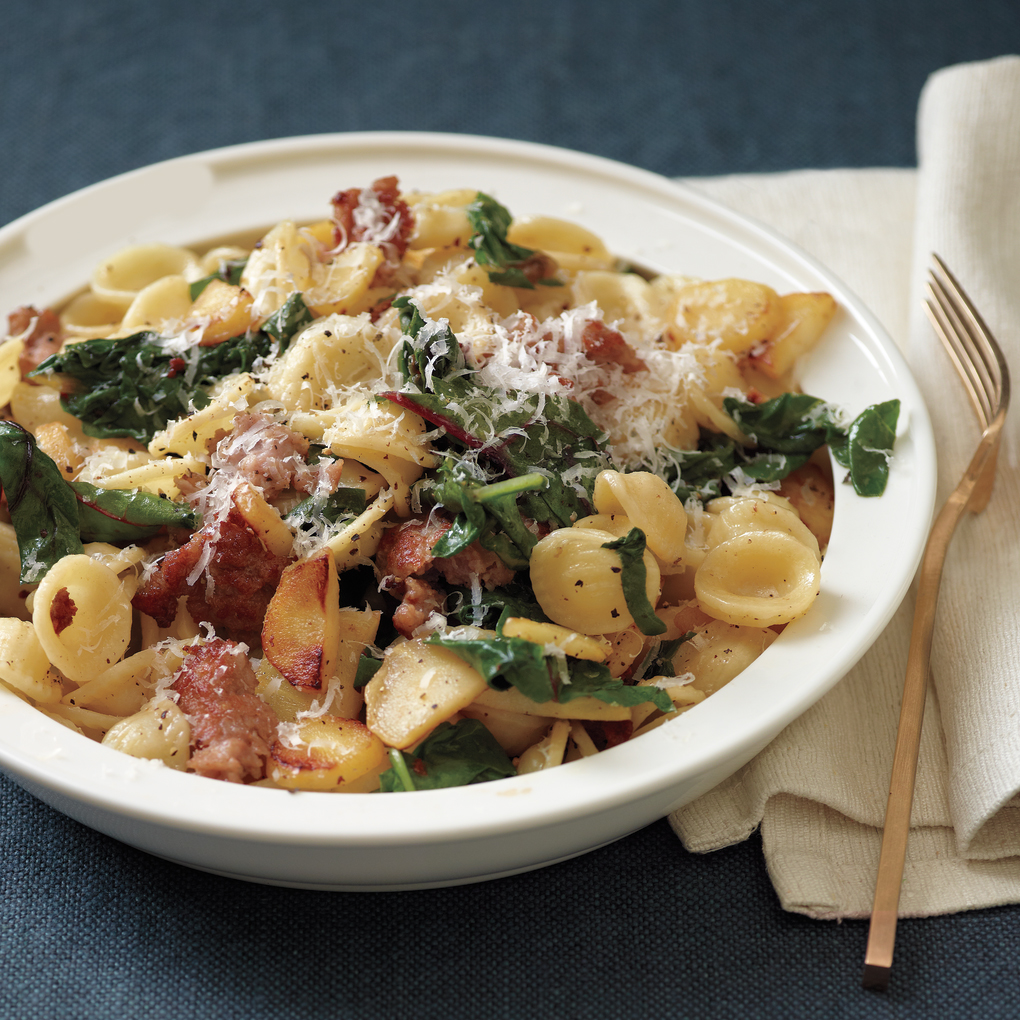 Orecchiette with Sausage, Chard, and Parsnips