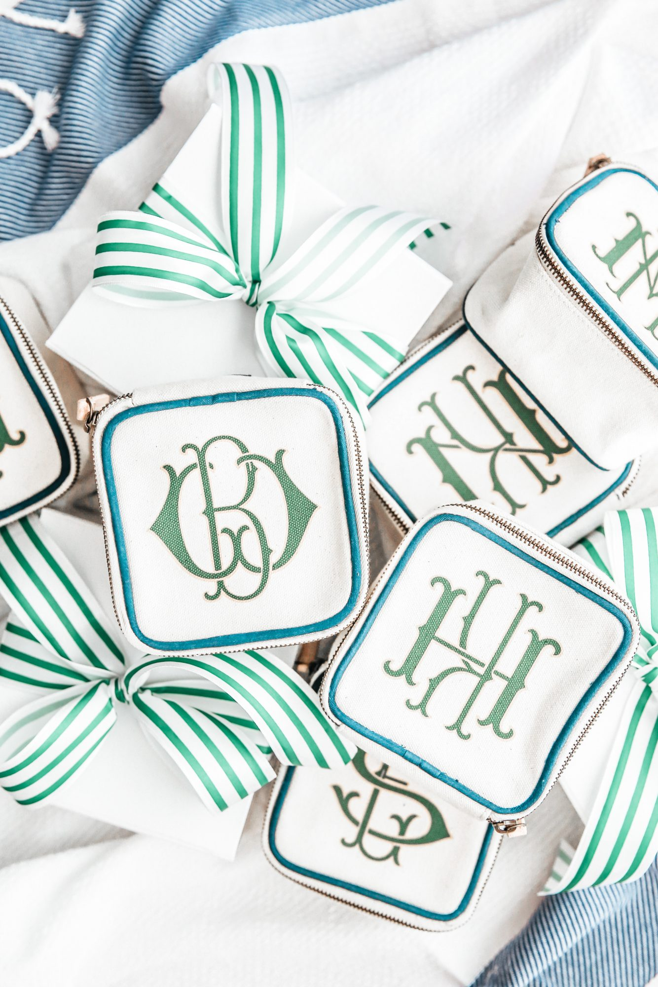 monogrammed zippered pouches