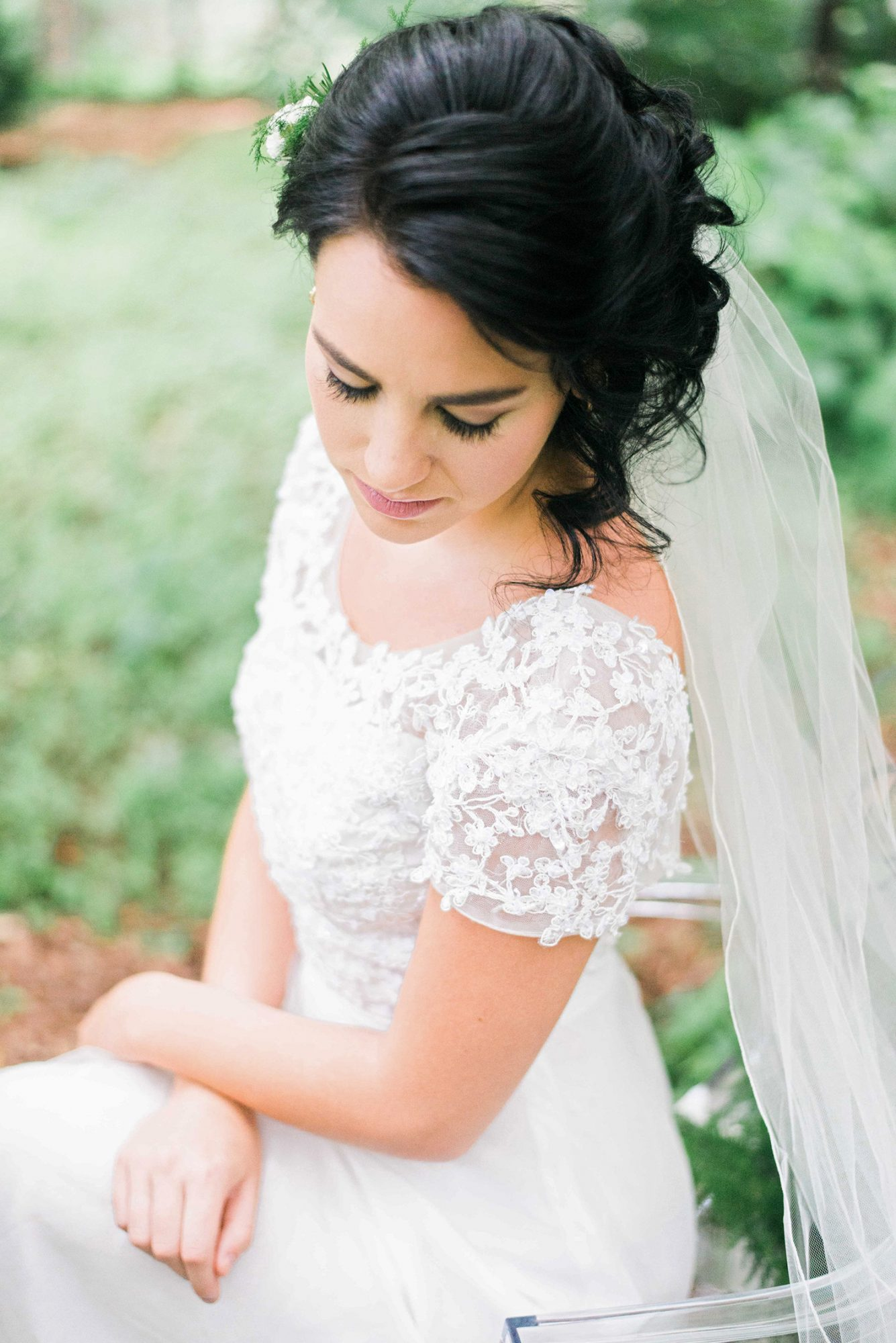 bride with cascading updo