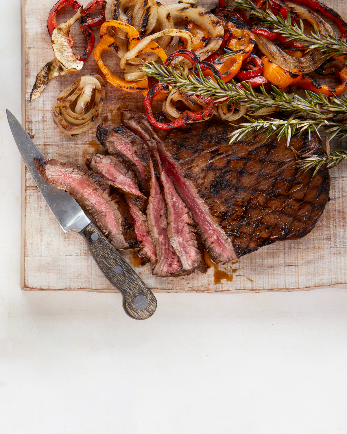 Grilled Balsamic Flank Steak With Peppers and Onions