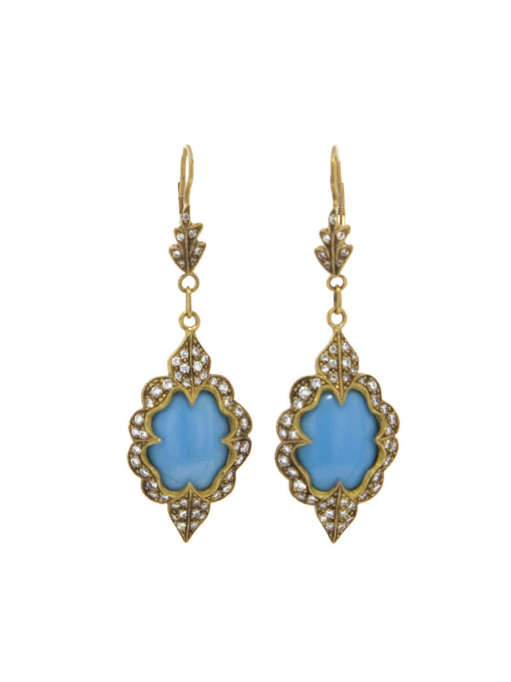blue and gold diamond earrings