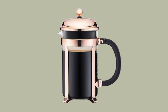 black and rose gold bodum french press
