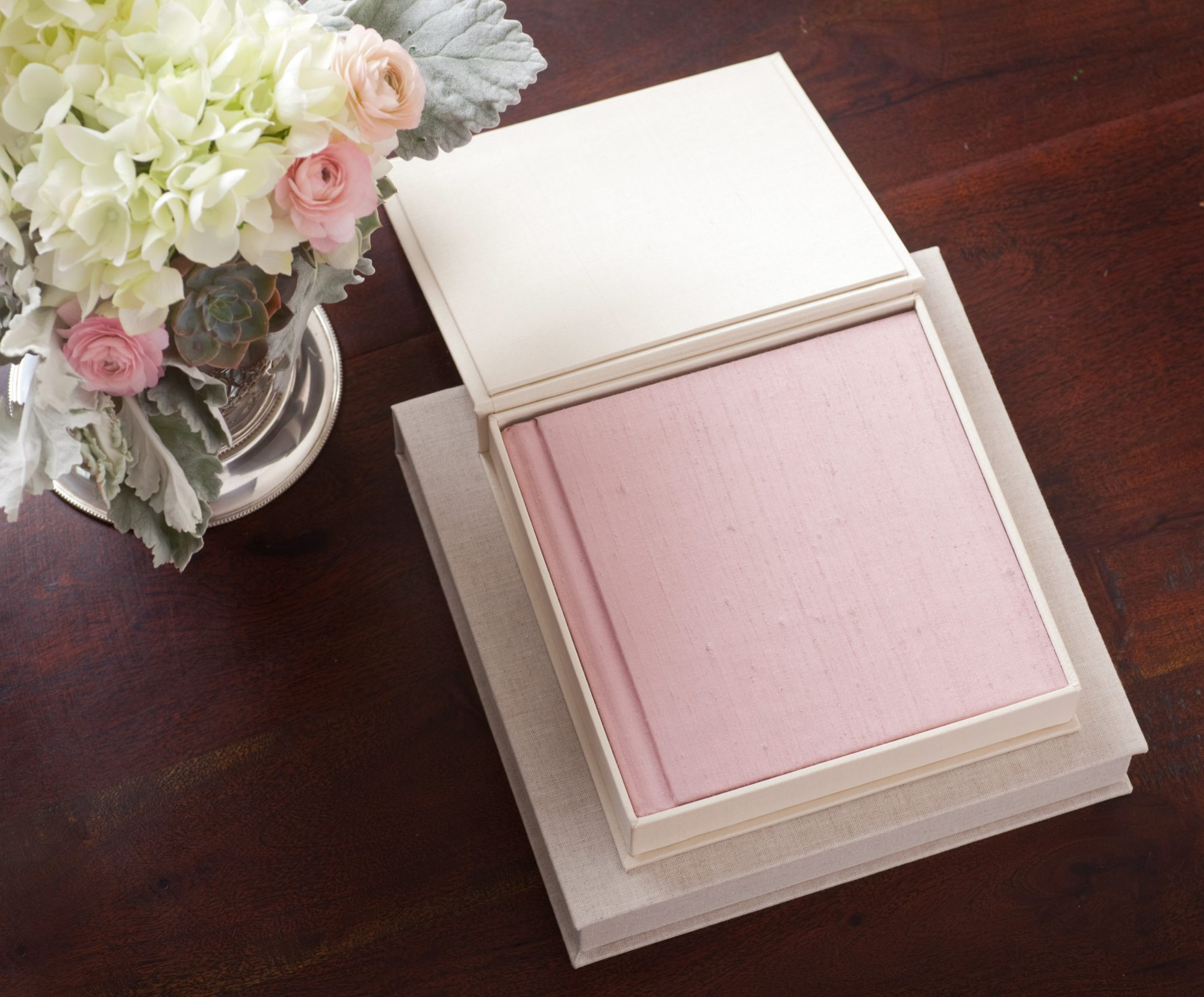 wedding photo albums pink cover in white box