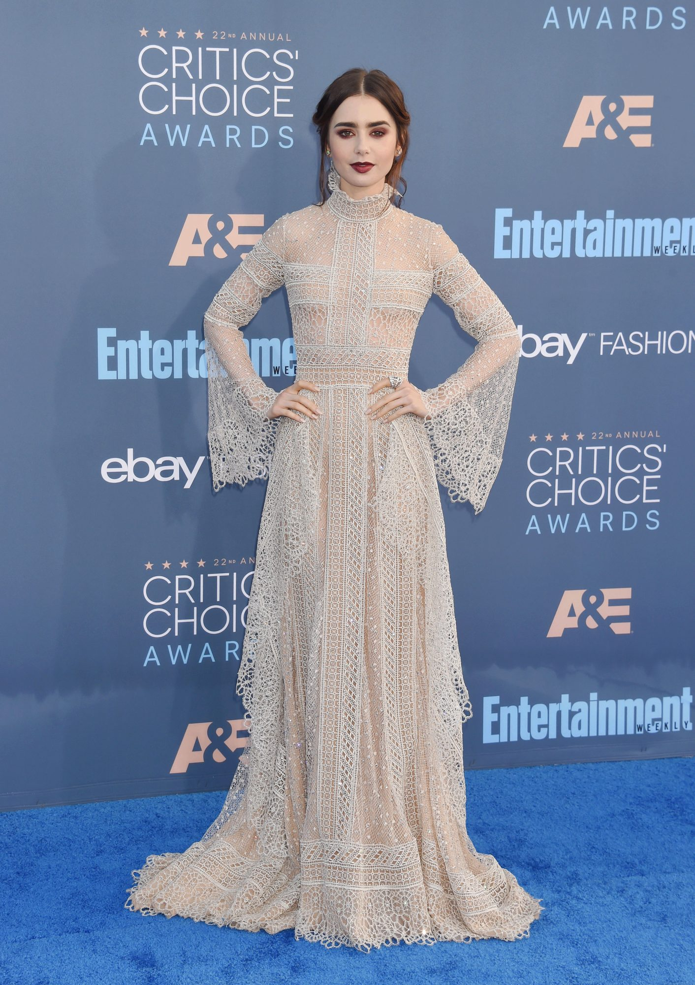 Lily Collins wearing Elie Saab on the Critics Choice Awards Red Carpet