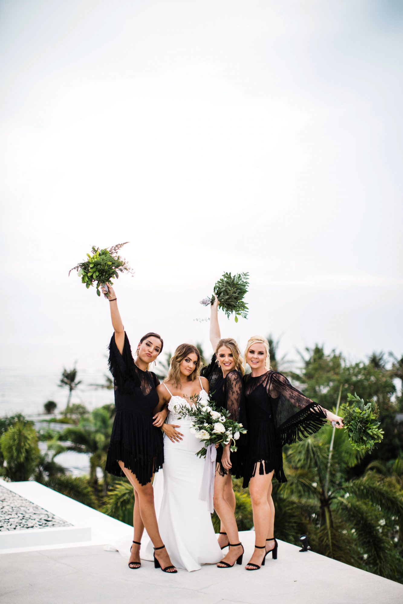 chic bridesmaids fringed lacy black gowns