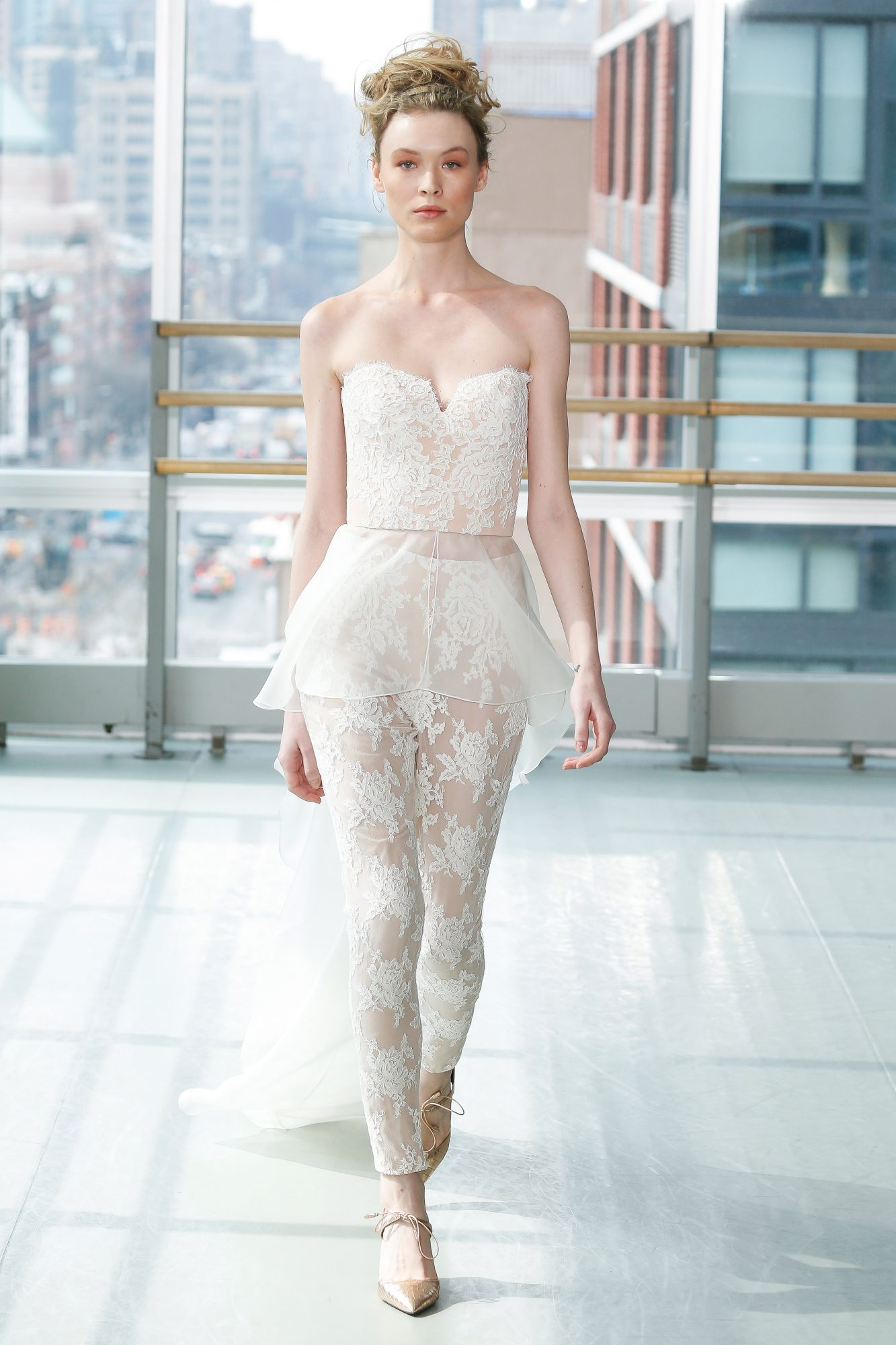 gracy accad wedding dress spring 2019 pants jumper strapless lace