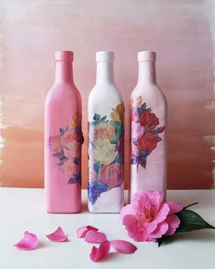 Decoupaged Flower Vases