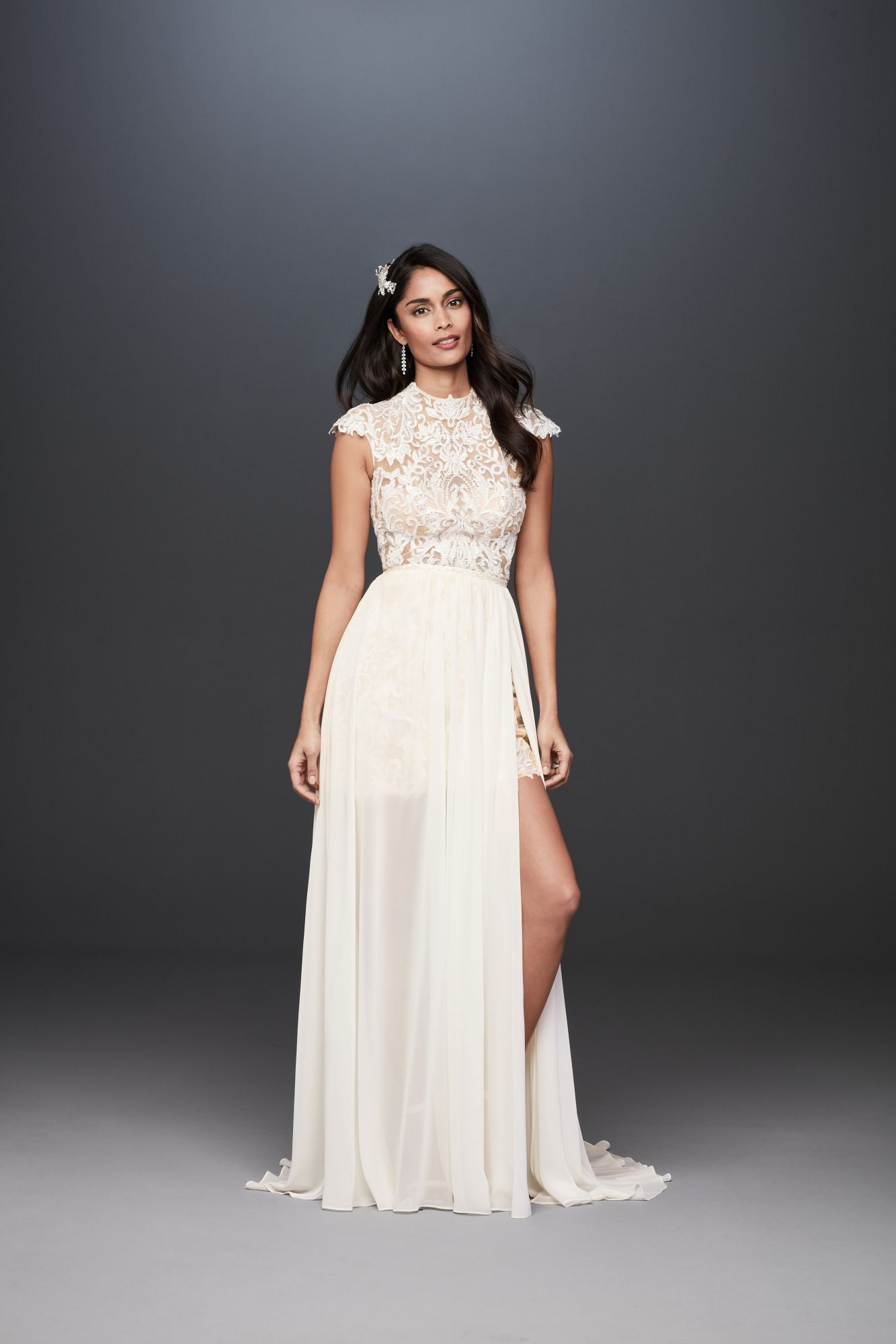 high neck cap sleeve lace a-line wedding dress Galina Signature Spring 2020