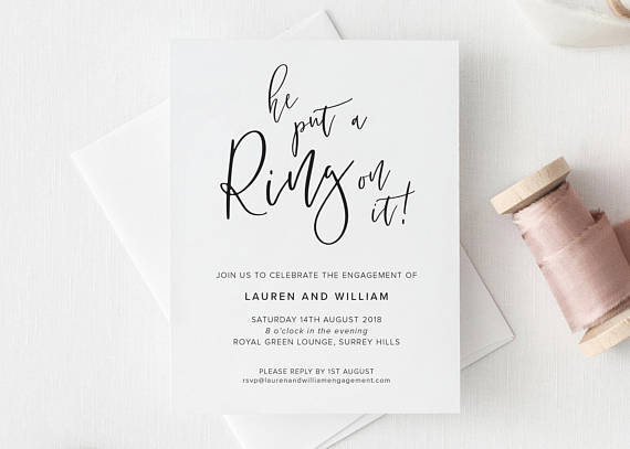 """White """"He Put a Ring On It"""" Engagement party Invitation"""