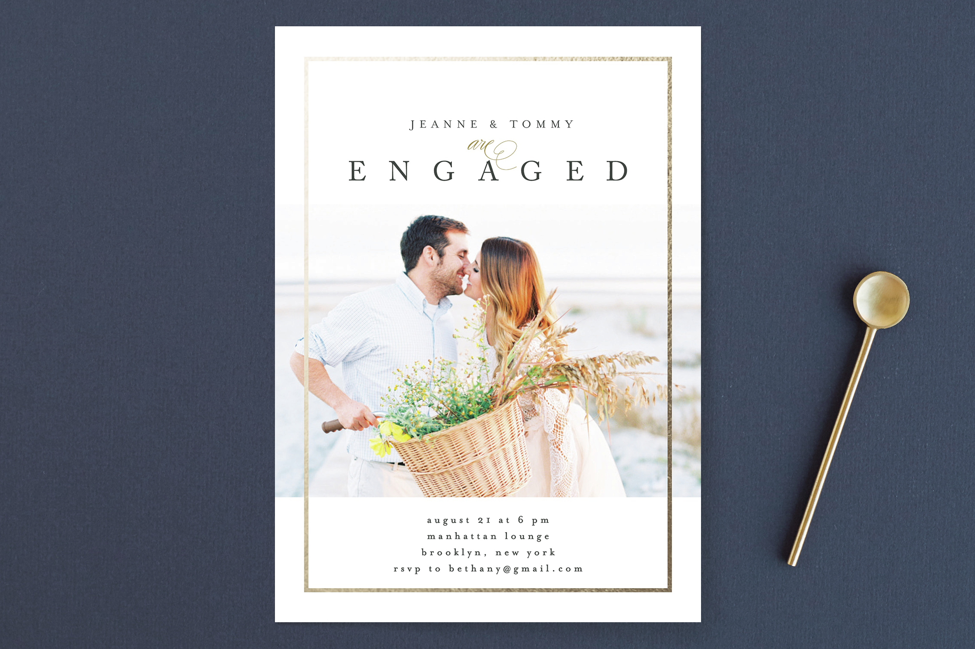 "Minted ""Nougat"" Foil-Pressed Engagement party Invitation"