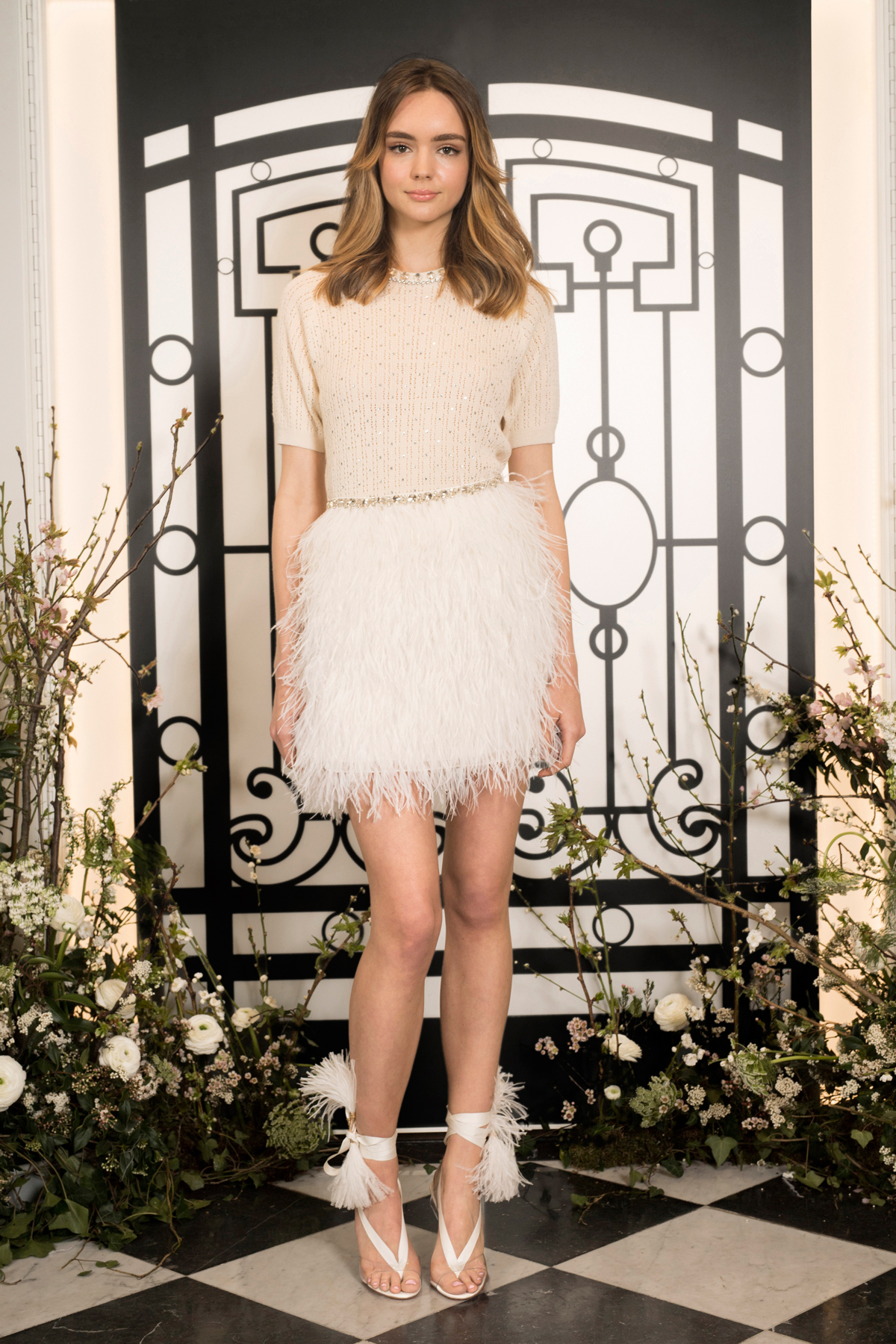 jenny packham short sleeve short wedding dress with feathered skirt spring 2020