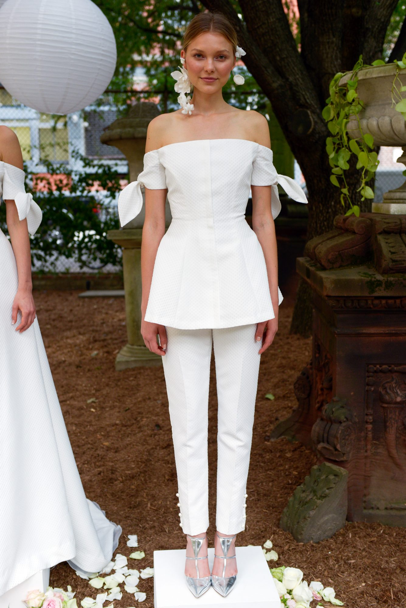 lela rose wedding dress bridal market fall 2018 off the shoulder separates pants