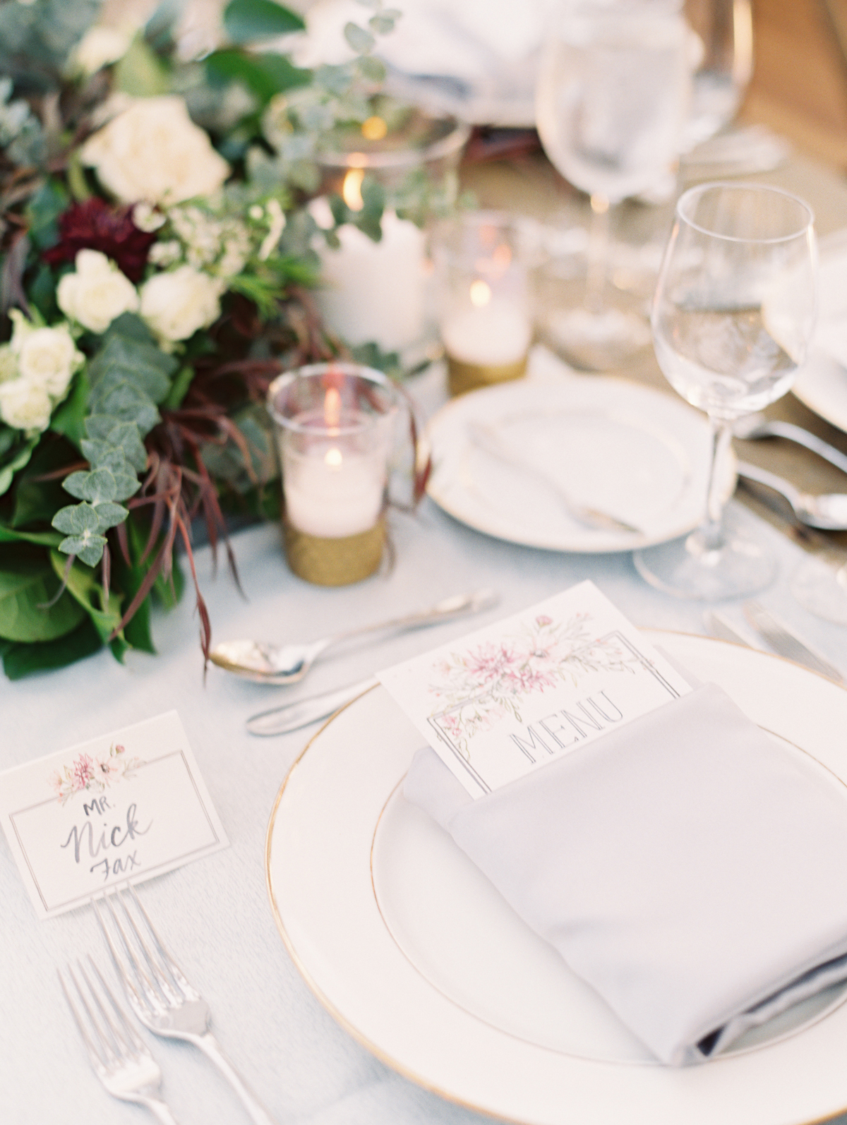 menu and place card with floral details