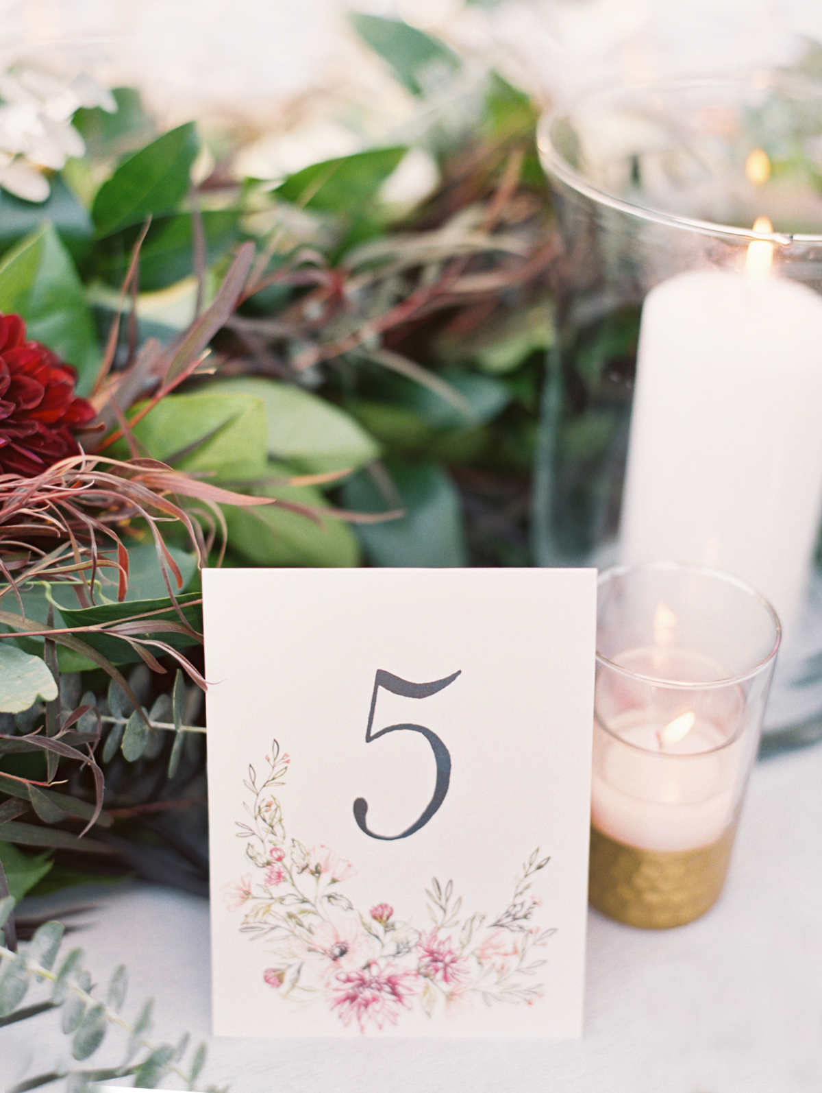 table number with floral detail