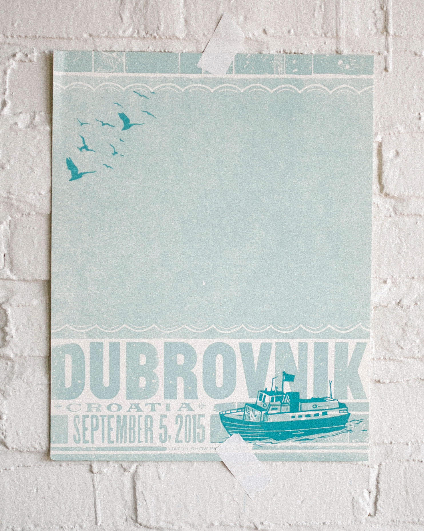 This Dubrovnik poster save-the-date is exactly the kind of memento guests can hold onto for years to come, remembering that destination wedding they went to in Croatia. With a vintage effect, this poster looks more like an announcement for a concert than a wedding, and that's half the appeal since it was created and printed at music poster design house Hatch Show Print.