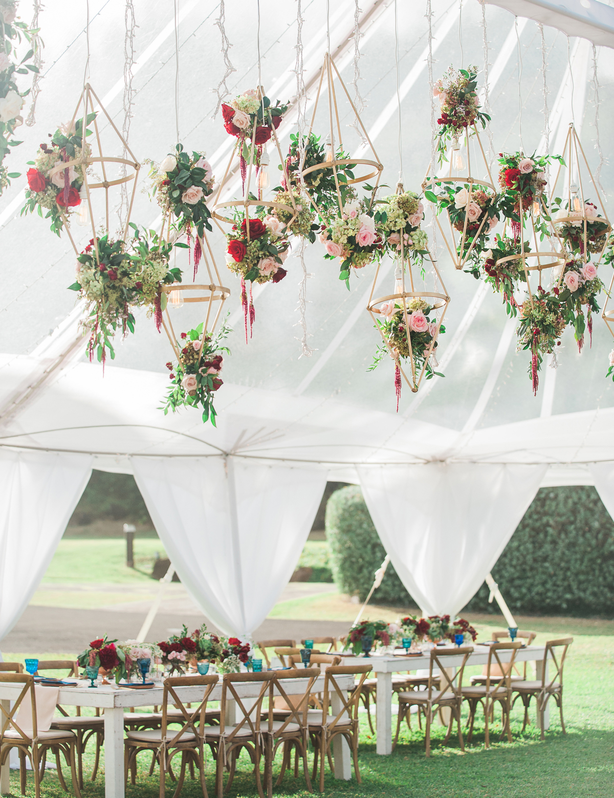 Geometric Gold hanging Structures with floral decor