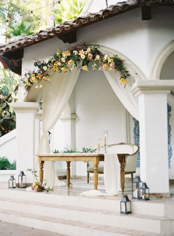 yellow floral and greenery wreathe hanging above table
