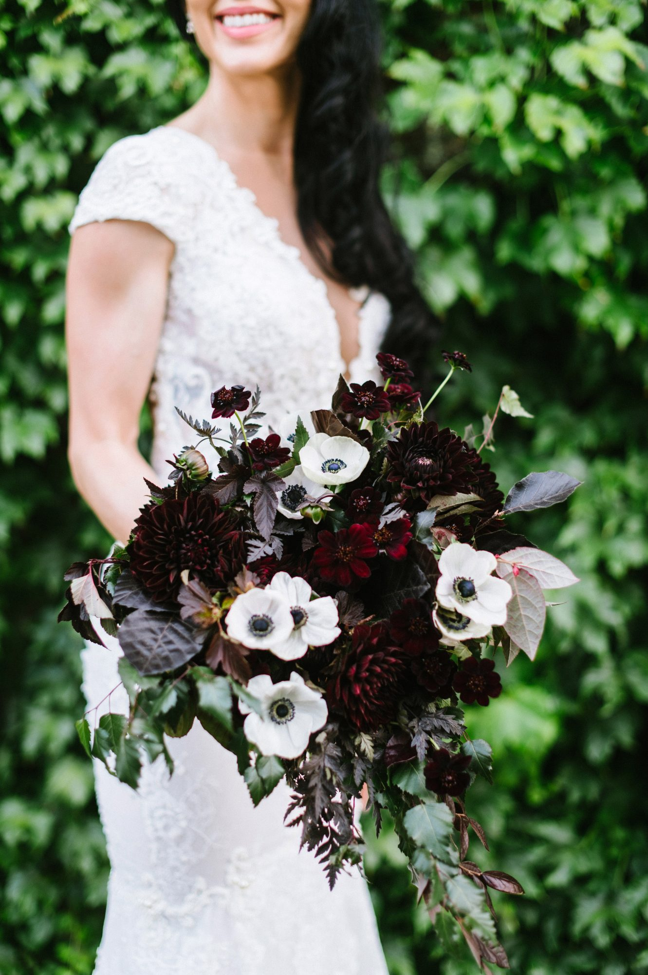 bride dahlia bouquet dark burgundy flowers