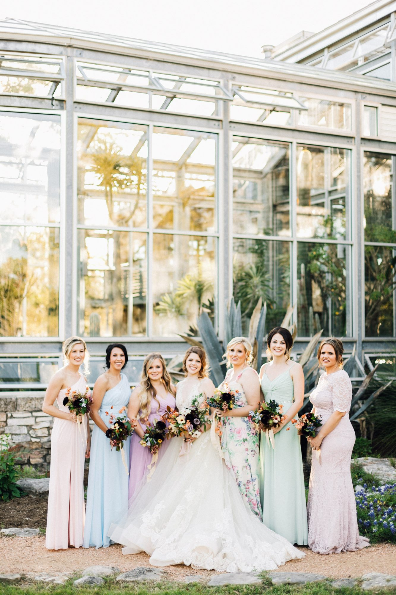 bride bridesmaids pastel colors